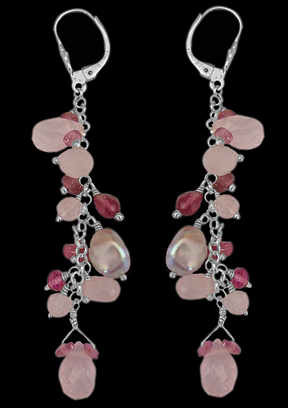 Rose Quartz Pink Tourmaline Grey Pearl and .925 Sterling Silver Earrings E1147