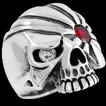 Silver Jewelry - Garnet and Clear Cubic Zirconia .925 Sterling Silver Pirate Skull Rings R167GA