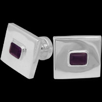 Silver Jewelry - Amethyst and Sterling Silver Cuff Links AZ501am