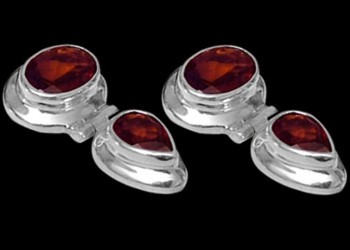 Garnet and Sterling Silver Earrings ES334