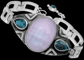 Engagement Jewelry Gift - Rainbow Moonstone Topaz and Sterling Silver Bracelets MBB01