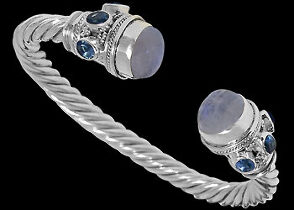Rainbow Moonstone Topaz and .925 Sterling Silver Cable Bracelets B500L