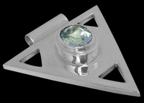 Father's Day Jewelry Gift - Sky Blue Topaz and .925 Sterling Silver Triangle Pendant MP097sky