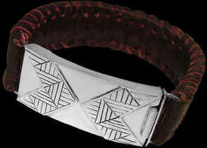 Genuine Red Leather and Sterling Silver Bracelets BR1237