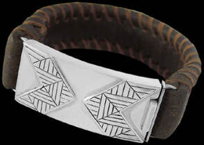 Genuine Brown Leather and Sterling Silver Bracelets BR1237