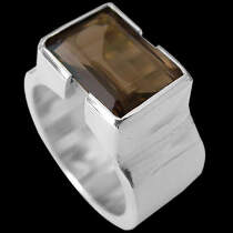Men's Jewelry - Smokey Quartz  and .925 Sterling Silver Ring R358