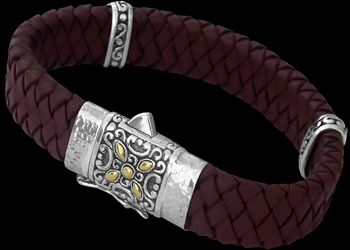 Genuine Red Leather 18K Gold and Sterling Silver Bracelets LB814Rd