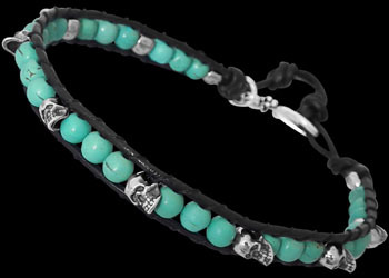 Genuine Black Leather Sterling Silver Skulls and Turquoise Gemstone Beaded Bracelets LBS006