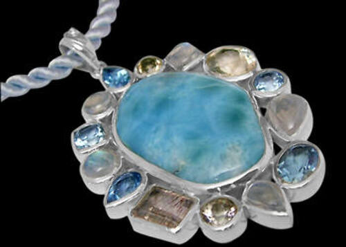 Anniversary Jewelry Gift - Larimar Rainbow Moonstone Topaz Cherry Topaz and Sterling Silver Pendants PD-885