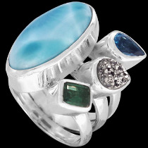 Larimar Topaz Pyrite Green Tourmaline and Sterling Silver Ring MR-1112Py
