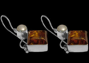 Amber Pearl and Sterling Silver Earrings E319