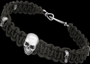 .925 Sterling Silver  Skull Beads and Black Leather Bracelets - Skull Beads ANIXI129