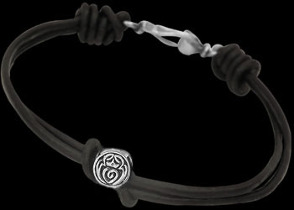 .925 Sterling Silver Celtic Beads and Black Leather Chokers - Celtic Beads ANIXI124ch