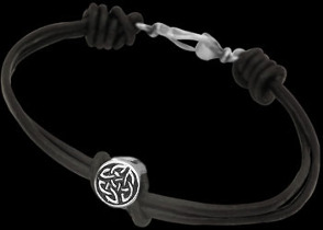 .925 Sterling Silver Celtic Beads and Black Leather Chokers - Celtic Beads ANIXI104chk