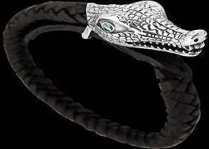 Black Leather and .925 Sterling Silver Alligator Head Bracelets B497