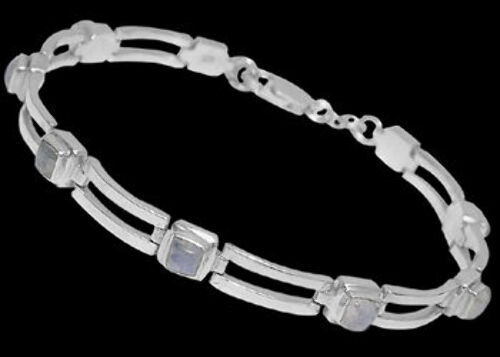 Bridal Jewellery - Rainbow Moonstone and Sterling Silver Bracelets B16