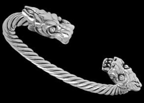 "Groomsmens Gift: Sterling Silver ""The Protector"" Dragon Cuff Bracelets B984 - 6mm"