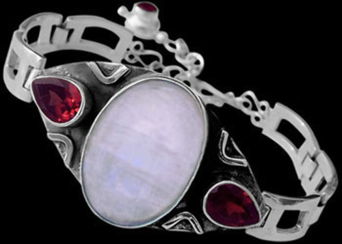 Bridal Jewellery - Rainbow Moonstone Garnet and Sterling Silver Bracelets MBB01