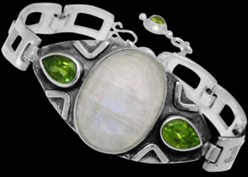 Bridal Jewellery - Rainbow Moonstone Peridot and Sterling Silver Bracelet MBB01