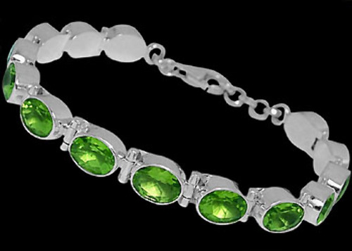 Bridal Jewellery - Peridot and Sterling Silver Bracelets B5