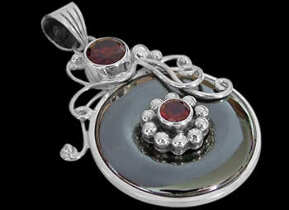 Garnet Pyrite and Sterling Silver Pendants MP200G