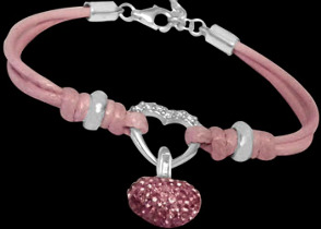 .925 Silver Jewelry - Sterling Silver Beads with Pink Cotton Cord Bracelets B538pk