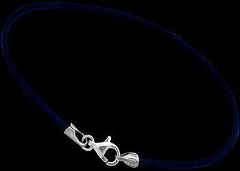 Navy Blue Leather and Sterling Silver Bracelets LB112
