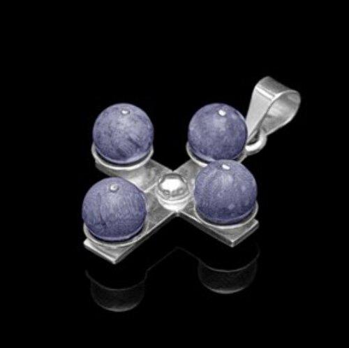 Lapis Lazuli  .925 Sterling Silver Cross Pendant