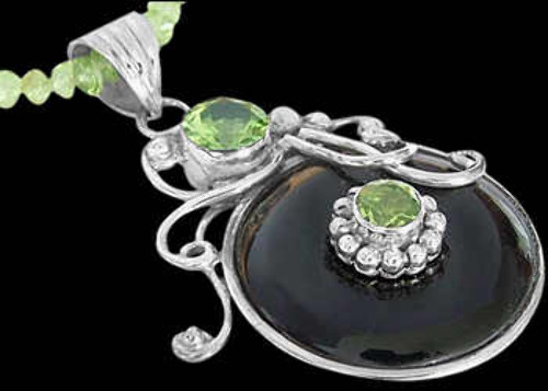 Bridal Gifts - Onyx Peridot and Sterling Silver Chokers MN200prpyr