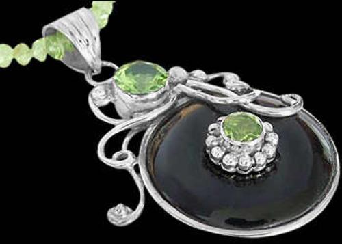 Onyx Peridot and .925 Sterling Silver Chokers MN200