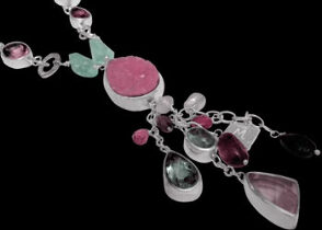 Silver Jewelry - Calcite Cabochon Rose Quartz Green Amethyst Amethyst Pink Tourmaline Aquamarine White Pearl and Sterling Silver SN959