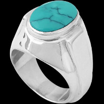 Men's Jewelry - Turquoise and .925 Sterling Silver Ring R977tq