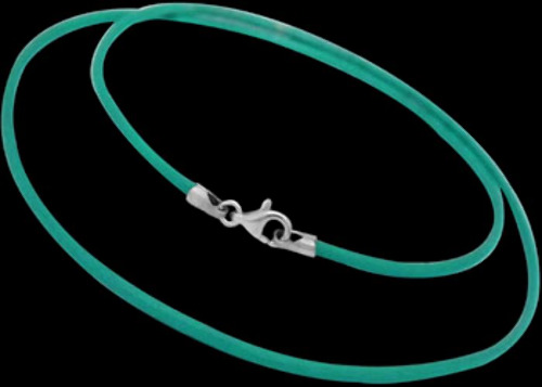 Green Turquoise Leather and Sterling Silver Necklaces LN105gtq
