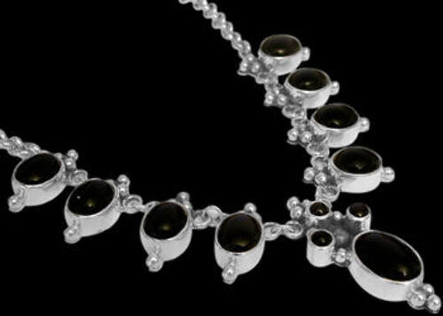 Bridal Gifts - Onyx and Sterling Silver Necklaces MN202onyx