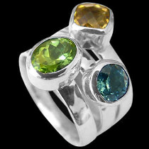 Womens Jewellery - Citrine Peridot Topaz and Sterling Silver Rings R1148