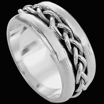 Plus Size Jewelry - Sterling Silver Rings R1-10252L - Weave Ridge Band - Plus Sizes