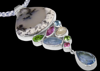 Anniversary Jewelry Gift - Montana Agate Blue Topaz Peridot Amethyst Pink Topaz Pearl and Sterling Silver Pendants PD-813