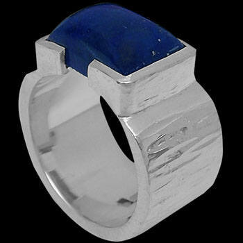 Men's Jewelry - Lapis Lazuli and .925 Sterling Silver Rings R358 - Matt Beaten Finish