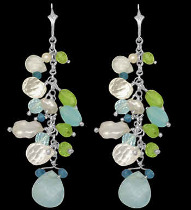 Clear Quartz Topaz Pearl Peridot and Sterling Silver Earrings E1147