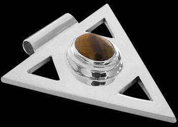 Gemstone Pendants - Tiger Eye and .925 Sterling Silver Triangle Pendant MP097