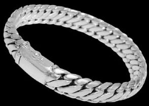 Mens Jewelry - .925 Stelring Silver Bracelets B463 - 12mm - Security Clasp