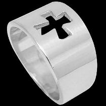 Religious Jewelry - .925 Sterling Silver Cross Rings R1-10029
