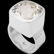 Clear Crystal Quartz and Sterling Silver Rings R-540crsq