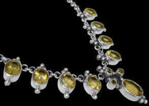 Valentines Day Jewelry Gift - Citrine and .925 Sterling Silver Necklaces MN202ct