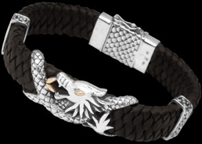 Genuine Black Leather 18K Gold and Sterling Silver Dragon Bracelets LB403