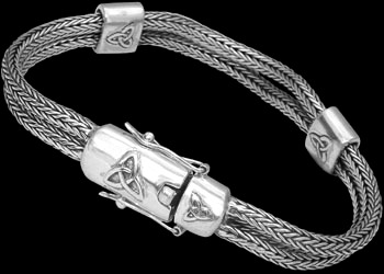 Celtic Jewelry - .925 Sterling Silver Bracelets CB239 - 2 x 3mm - Double Security Clasp