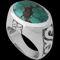 Silver Jewelry - Turquoise  and .925 Sterling Silver Rings R1228tur