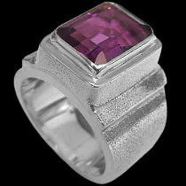 Men's Jewelry - Dark Amethyst and Sterling Silver Rings MR20c - Roudh Finish