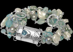 Anniversary Jewelry Gift - Blue Chalcedony White Pearl Black Pearl and Sterling Silver BR778