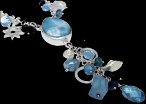 Valentines Day Jewelry Gift -  Larimar Topaz Aquamarine White Pearl and Sterling Silver Necklaces SN959Larmiar